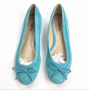 Talbots | Genuine Leather Suede Teal Aqua Flats